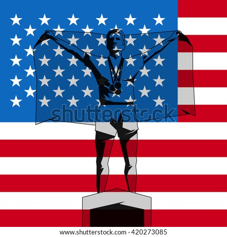 Silhouette winner on the podium with flag United States of America