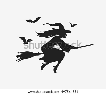 Silhouette witch flying on broomstick. Halloween vector
