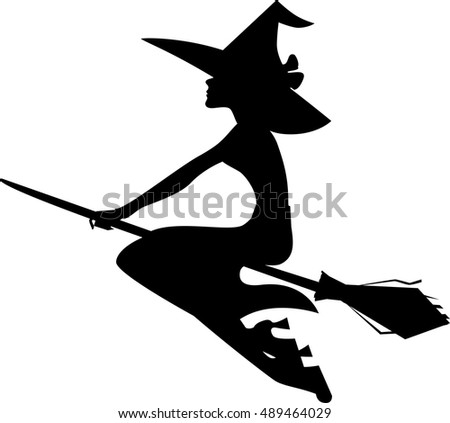 silhouette witch on broom isolated image of halloween - Halloween Witch Cartoon