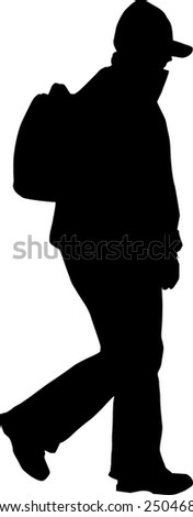 silhouette with backpack - stock vector