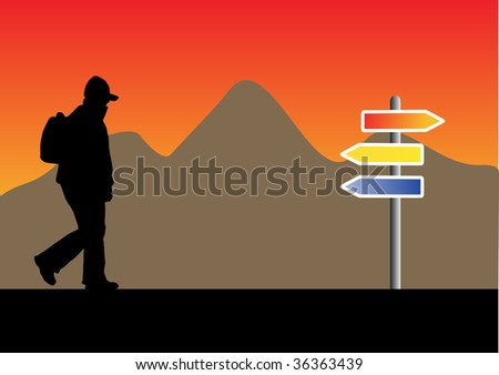 silhouette with backpack with a mountain and a road sign - stock vector