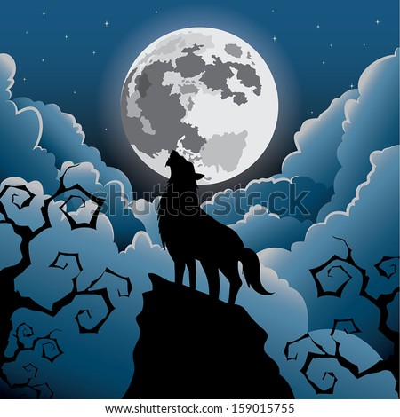 Silhouette Wolf howling under the moon, Halloween Vector  - stock vector