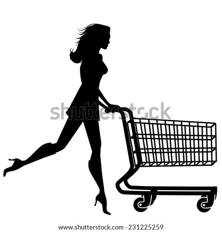 Silhouette woman with a shopping cart EPS 10 vector illustration - stock vector