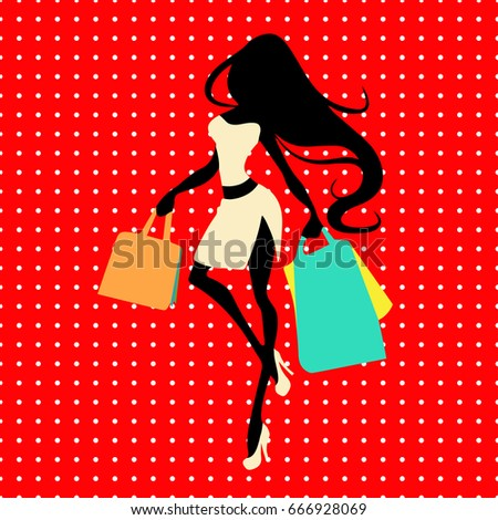 Silhouette woman with shopping bag on a red background with polka dots, vector banner template for female shopping, sales, black friday design