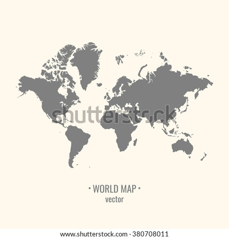 Silhouette world map on a light background. The image of the continents. Vector illustration. - stock vector