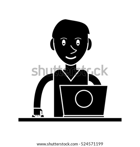 silhouette young man using laptop on desk