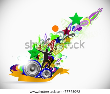silhouetted a man dancing enjoy music in floral background, vector illustration - stock vector