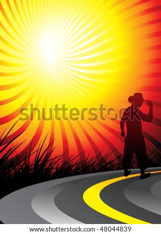 silhouetted a young cowboy on the road and looks to the future, vector illustration - stock vector