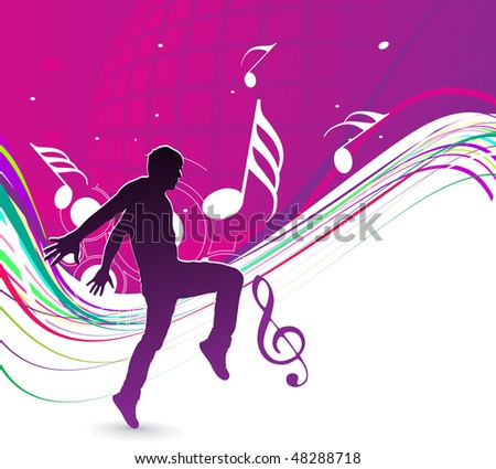silhouetted a young man enjoy music with rainbow wave line, vector illustration - stock vector