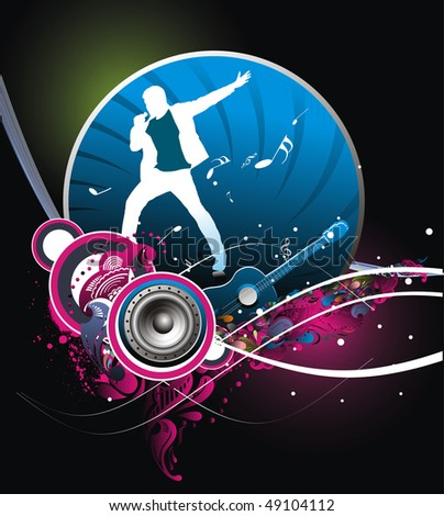 silhouetted a young man Performer the music with music theme background. Vector Illustration.No mesh in this Vector - stock vector