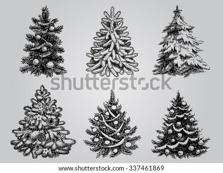 Silhouetted Christmas Tree Vector Pack to create holiday cards, backgrounds and decorations. - stock vector