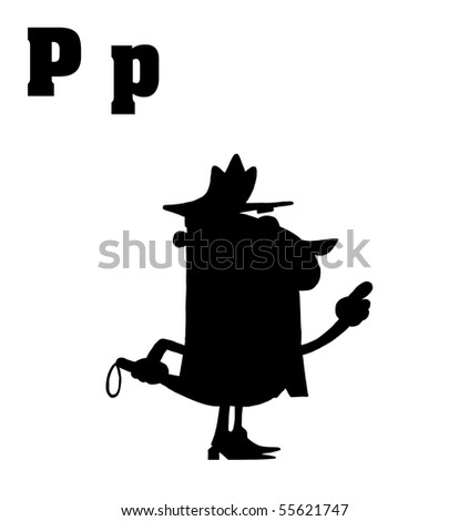 Silhouetted Cop With Letters C - stock vector