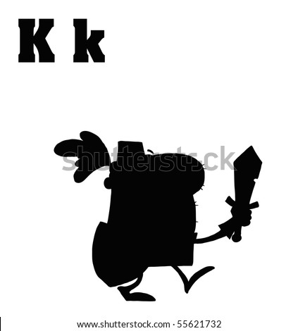Silhouetted Knight With Letters K