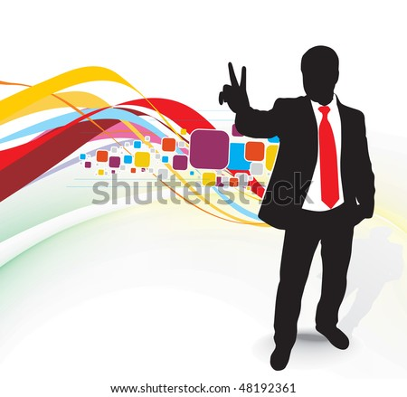 silhouetted of businessman showing Victory sign, symbol for success, vector illustration, No mesh in this Vector - stock vector