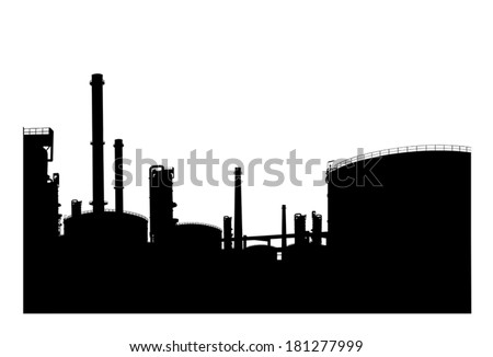 Silhouetted of oil refinery  - stock vector