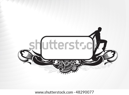 silhouetted of young man with blank banner his hand isolated on white, vector illustration - stock vector