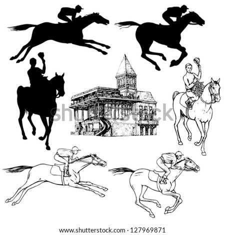 Silhouettes and graphic sketches of horses and jockeys, vintage style, graphic drawing hippodrome for design - stock vector