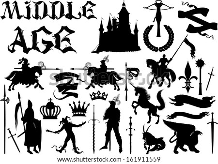 silhouettes and icons on the medieval theme. Black and white isolated on white - stock vector