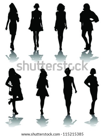 Silhouettes and shadows of fashion-vector - stock vector