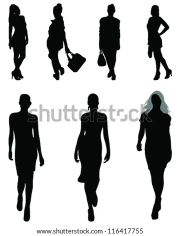Silhouettes and shadows of fashion 2-vector - stock vector