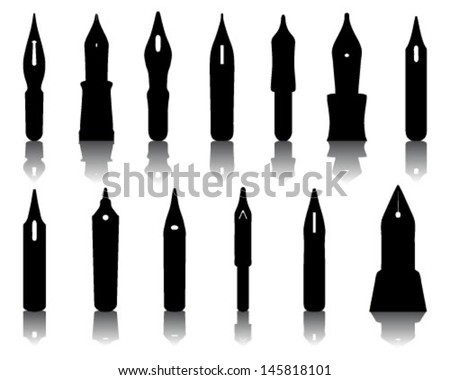 Silhouettes and shadows of old ink pen nibs-Vector illustration