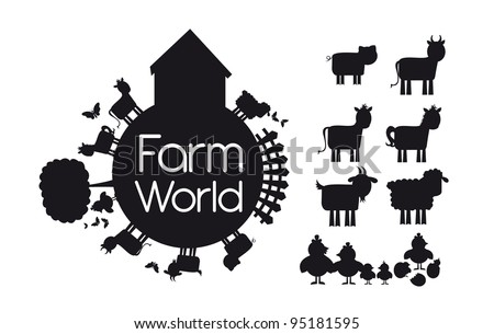 silhouettes animals farm isolated over white background. vector illustration - stock vector