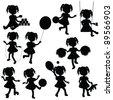 silhouettes baby girl for children theme - stock vector