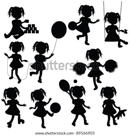 silhouettes baby girl for children theme