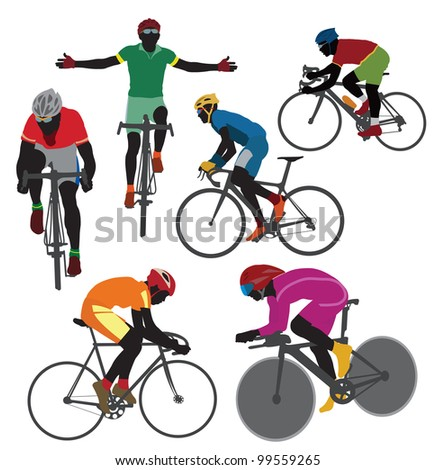 Silhouettes bicyclist. Vector - stock vector