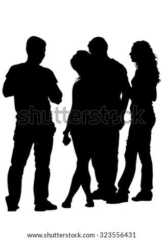 Silhouettes big crowds people on white background - stock vector