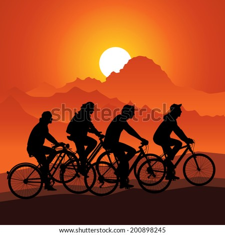 Silhouettes bike riders in nature mountain landscape. Vector illustration