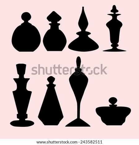 silhouettes  bottles - stock vector