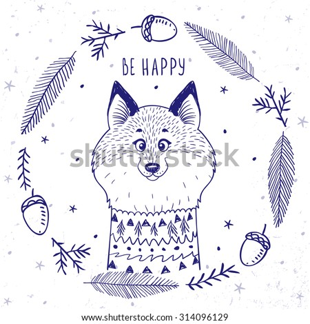 Silhouettes cartoon cute and funny fox in beautiful frame in sketch style. Vector illustration - stock vector