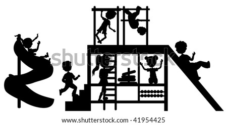silhouettes children on playground - stock vector
