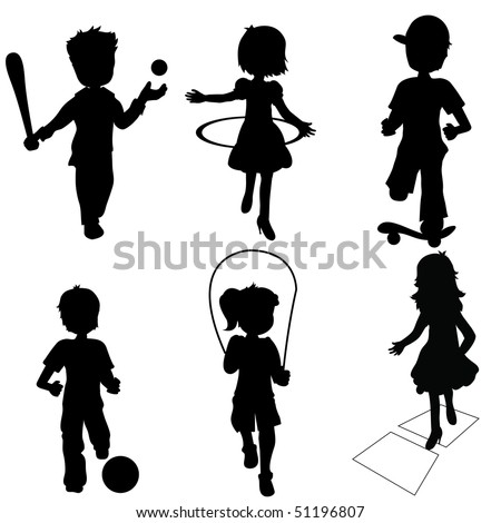 silhouettes children playing - stock vector