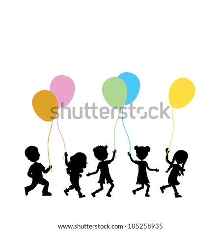 silhouettes children walking and holding colorful balloons