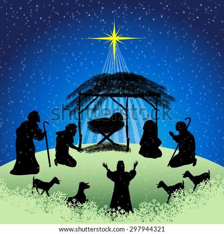 traditional christian christmas nativity scene baby stock