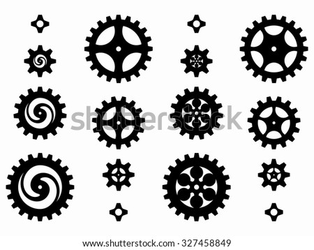 silhouettes cog wheels and pinions, set of gears with the same module