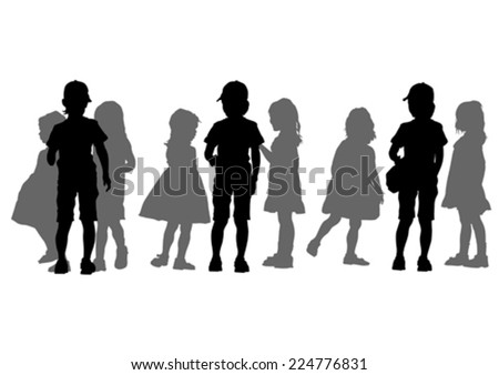 Silhouettes crowds of young kids on white background - stock vector