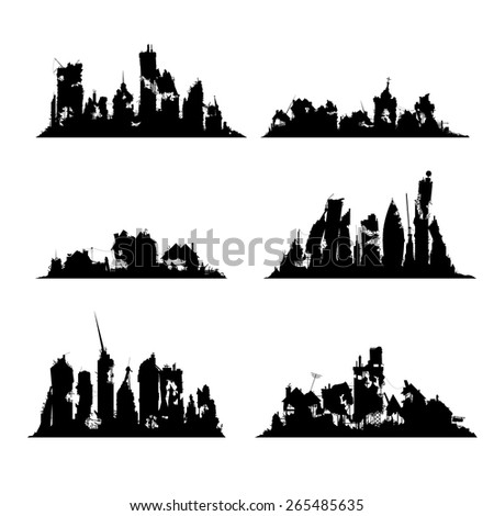 Silhouettes destroyed cities set on white background - stock vector