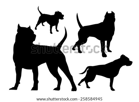 silhouettes fighting dogs - stock vector