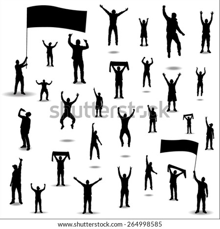 Silhouettes for sports championships and concerts - stock vector