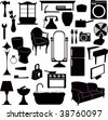 silhouettes furniture and other objects - stock photo