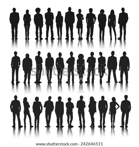 Silhouettes Group of People in a Row Vector - stock vector