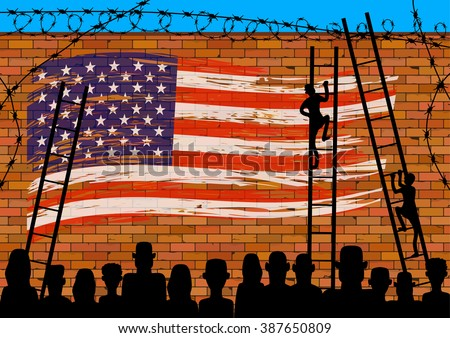 Silhouettes many refugees on a border wall with a USA flag. People on the stairs to climb the wall. Social issues on illegal immigrants. - stock vector
