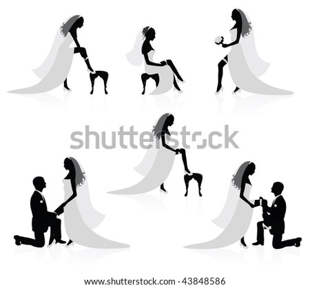 Silhouettes of a bride showing a leg with a garter on it and silhouettes of a groom  putting a garter on a bride's leg. - stock vector