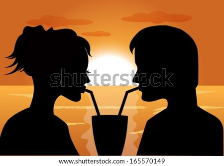silhouettes of a couple in love at sunset drink from the same glass - stock vector