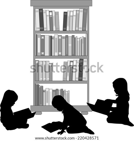 Silhouettes of a girl reading a book. - stock vector