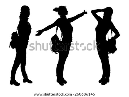 Silhouettes of a girl with a backpack