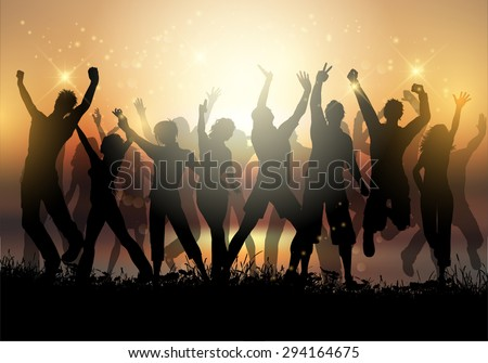 Silhouettes of a group of people dancing at sunset - stock vector